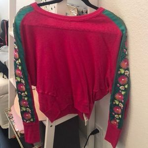 Pink free people sweater with sleeve detailing